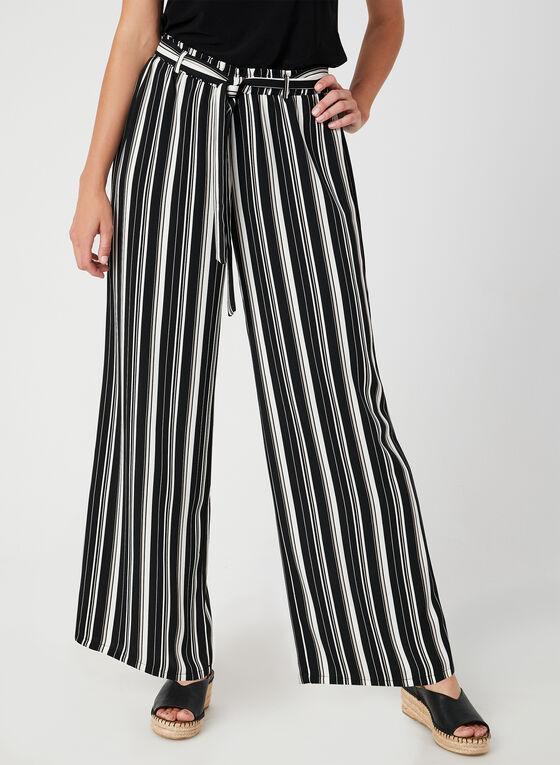 Pantalon rayé à jambe large, Noir, hi-res