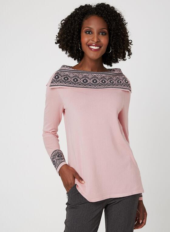 Knit Boat Neck Top, Pink, hi-res