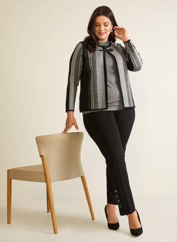 Cardigan rayé à attache métallique, Noir,  automne hiver 2020, cardigan, tricot, rayures, motif, rayé, manches longues, attache, métallique, strass, contrastant