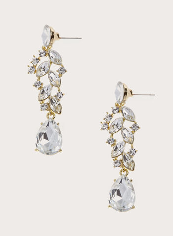 Crystal Teardrop Drop Earrings , Gold, hi-res