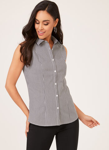 Sleeveless Button Down Blouse, Black, hi-res