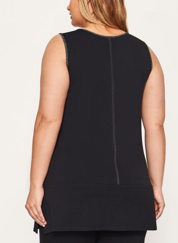 Sleeveless Tunic Top, Black, hi-res