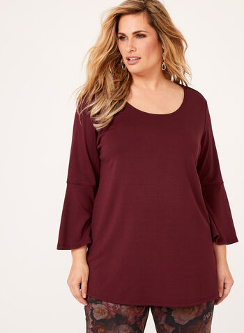 Linea Domani - Bell Sleeve Ponte Top, Brown, hi-res