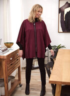 Faux Suede Zip Front Cape, Red