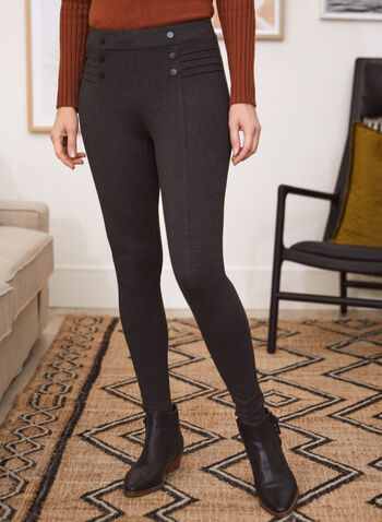 Button & Rib Detail Leggings, Grey,  leggings, pull-on, slim leg, ponte di roma, button details, fall winter 2020
