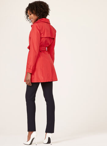 Hooded Trench Coat , Red, hi-res