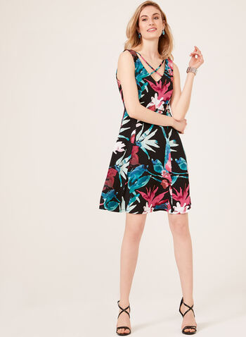 Floral Print Sleeveless Fit & Flare Dress, Black, hi-res