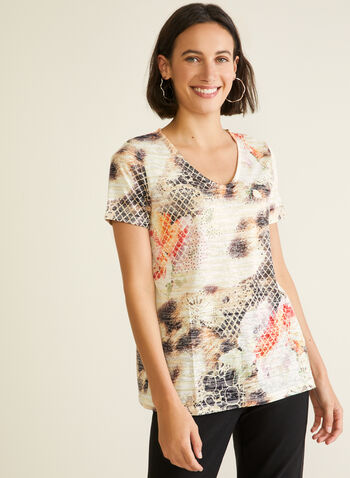 Abstract Animal Print Tee, Brown,  t-shirt, v-neck, short sleeves, burnout, abstract, animal, rhinestones, spring summer 2020