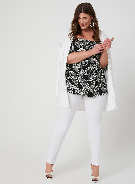 Leaf Print Off-the-Shoulder Top, White, hi-res