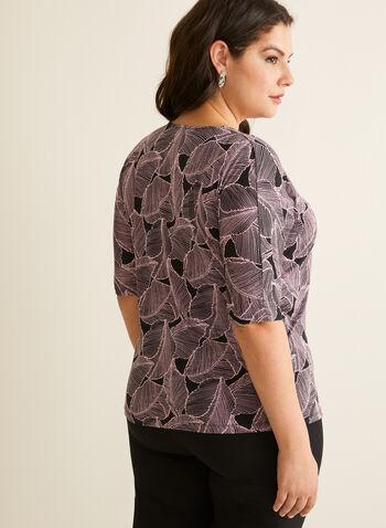 Tie Detail Top, Purple,  spring summer 2020, elbow sleeves, jersey fabric, tie detail