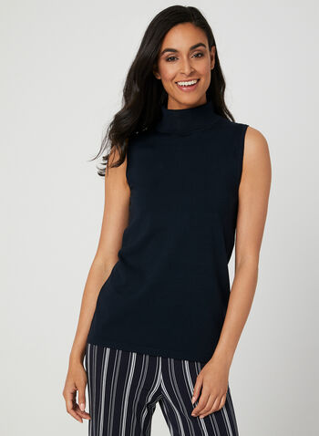 Sleeveless Knit Turtleneck, Blue, hi-res,  turtleneck, sleeveless, knit, fall 2019