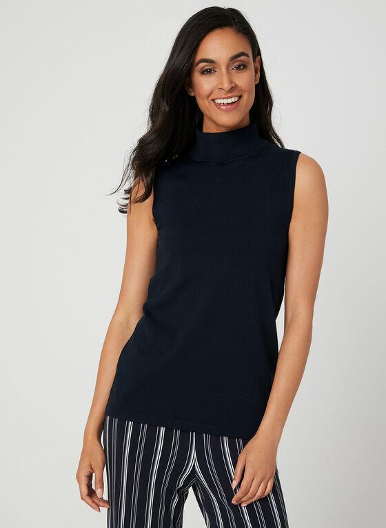 Sleeveless Knit Turtleneck, Blue, hi-res