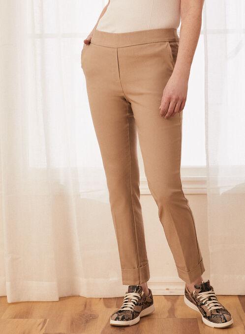 Pantalon pull-on à ourlets pliés , Vert