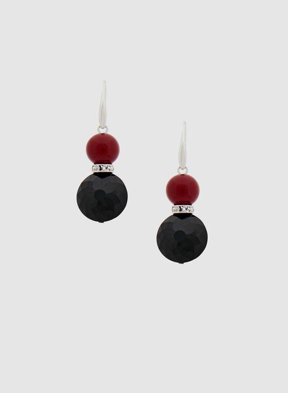 Boucles d'oreilles à pendants ronds, Rouge, hi-res
