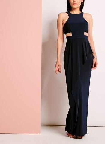 Sleeveless Jersey Asymmetric Trim Gown, Blue, hi-res