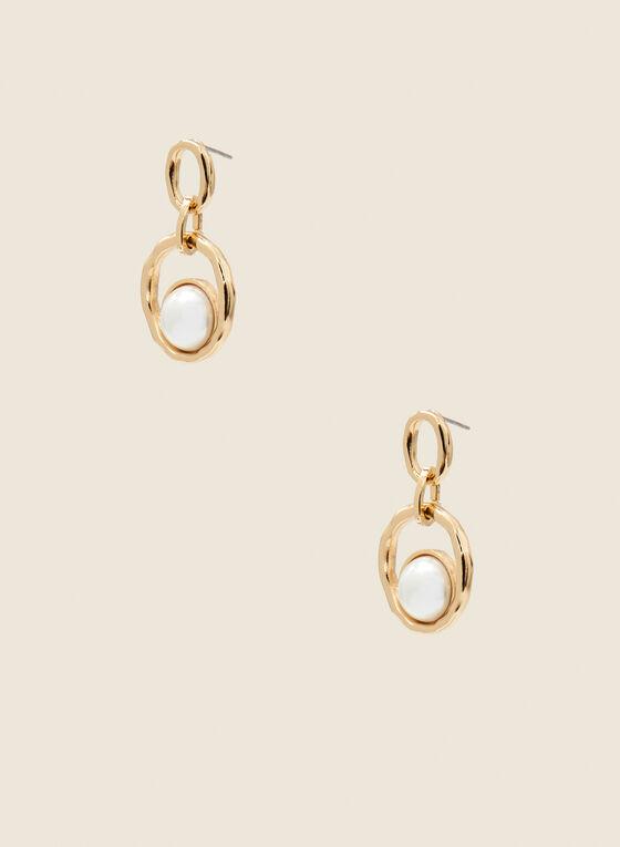 Boucles d'oreilles dorées à perles  , Blanc cassé