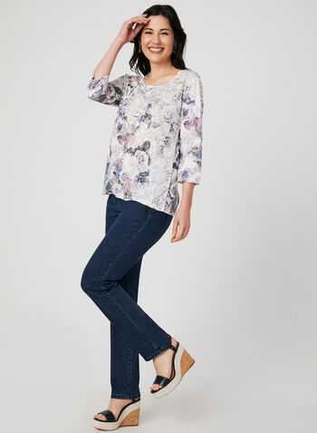 Floral Print ¾ Sleeve T-Shirt, White,  t-shirt, 3/4 sleeves, floral print, burnout, rhinestones, fall 2019, winter 2019