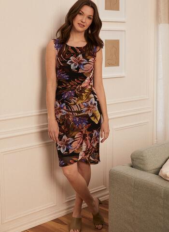 Foliage Print Mesh Dress, Purple,  day dress, tropical, sleeveless, chiffon, pleated, spring summer 2020