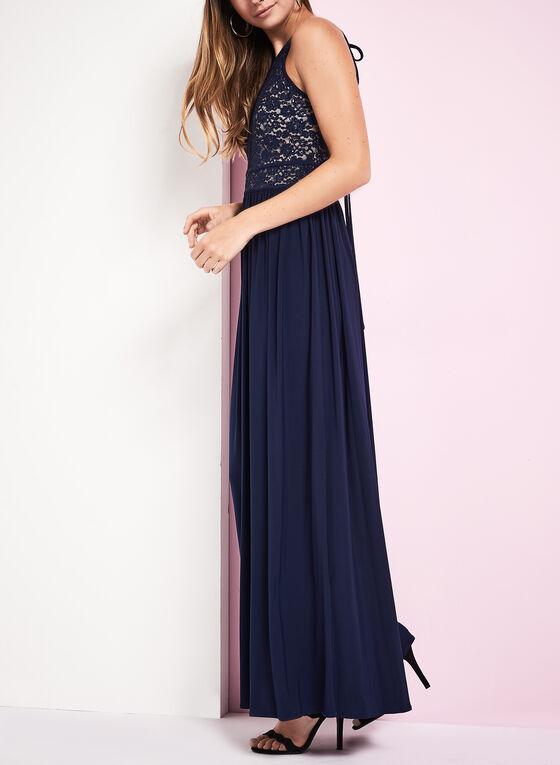 Glitter Lace Keyhole Dress, Blue, hi-res