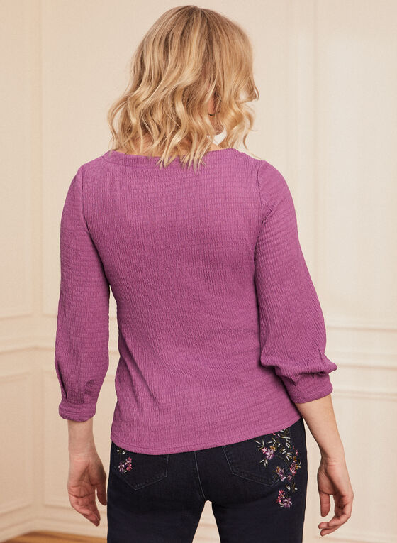 Crinkle Texture Knit Top, Purple