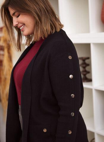 Cardigan mi-long à détails boutonnés, Noir,  automne hiver 2020, cardigan, tricot, ouvert, manches longues, boutons, poches, tricot