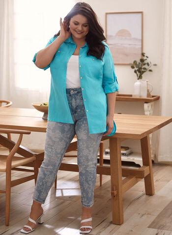 Tunique en lin à col chemisier, Bleu,  blouse, col chemisier, manches 3/4, boutons, poches, pli d'aisance, lin, printemps été 2021