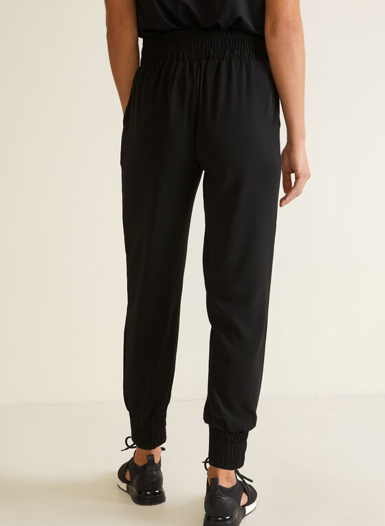 Ribbon Drawstring Pull-On Pants, Black