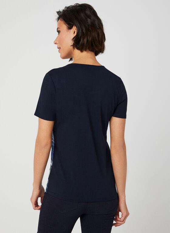 T-shirt rayé à détails en cristaux, Bleu