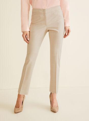 Pantalon coupe moderne à carreaux, Blanc,  pantalon, jambe droite, moderne, tartan, printemps été 2020