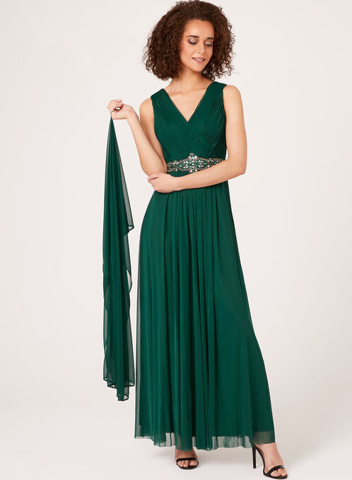 Beaded Empire Chiffon Gown with Scarf, Green, hi-res