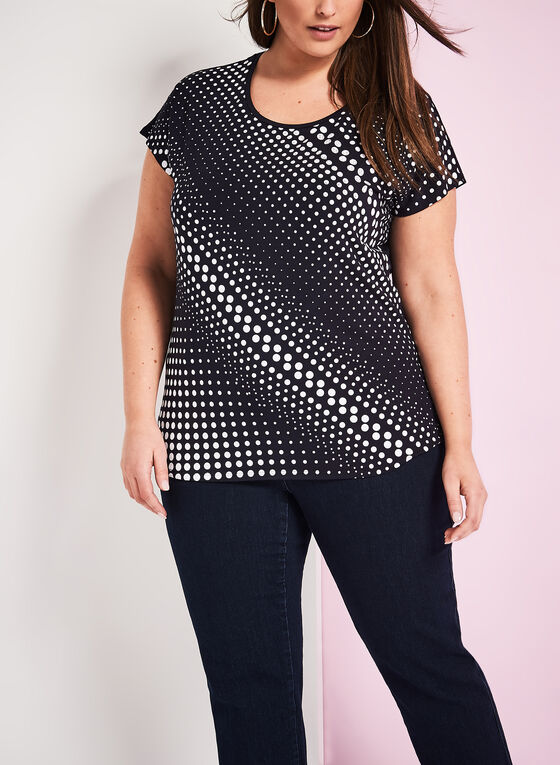 Short Sleeve Dot Print T-Shirt , Blue, hi-res