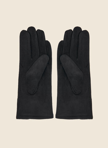 Faux Suede Gloves, Black,  fall winter 2020, faux-suede, soft, gloves, accessories, bow, holiday, holiday 2020, gift