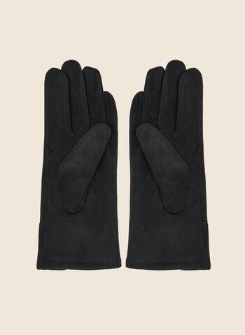 Gants en faux suède , Noir,  automne hiver 2020, fêtes, fêtes 2020, cadeau, gants, faux suède, boucle