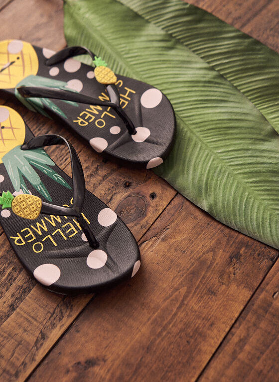 Pineapple Print Flip-Flops, Black