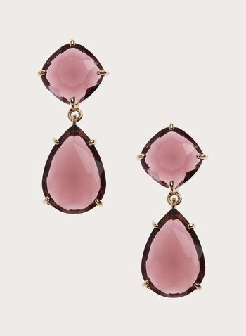Two-Tier Faceted Stone Drop Earrings , Pink, hi-res