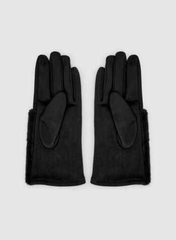 Gants en faux suède et fausse fourrure, Noir, hi-res,  gants, faux suède, fausse fourrure, cristaux, automne hiver 2019