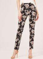 Pantalon pull-on fleuri à longueur cheville, Noir, hi-res