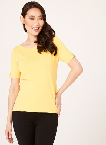 Grommet Detail Knit Sweater, Yellow, hi-res