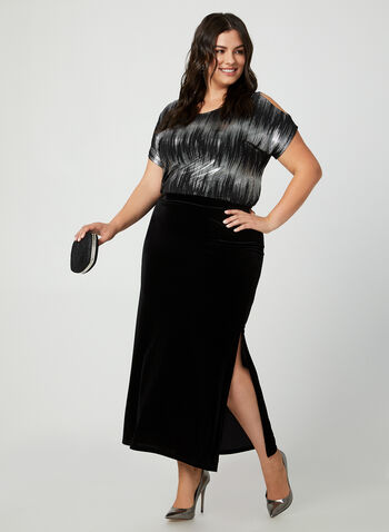 Long Velour Skirt, Black, hi-res,  canada, skirt, long skirt, velour skirt, slit skirt, holiday, fall 2019, winter 2019