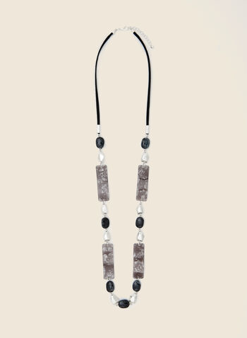Mixed Stone Long Necklace, Black,  necklace, long, marbled, resin, faux suede, fall winter 2020