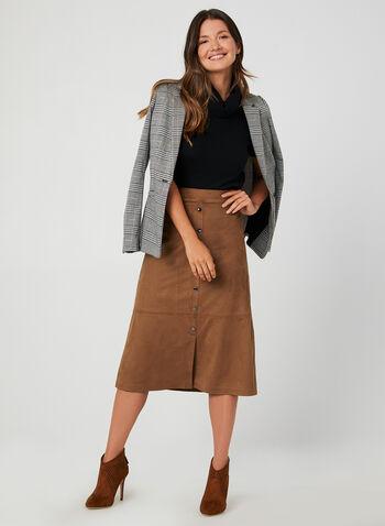 Pull à col roulé et manches courtes, Noir, hi-res,  pull, manches courtes, col roulé, tricot, automne hiver 2019