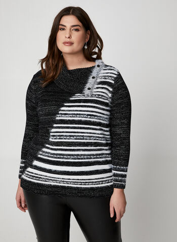 Metallic Yarn Striped Sweater, Black,  sweater, knit, stripe print, striped top, cowl neck, button, striped sweater, yarn, top, holiday top, fall 2019, winter 2019