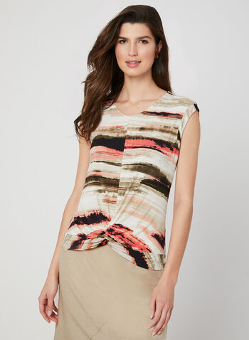 Abstract Print Top, Brown, hi-res