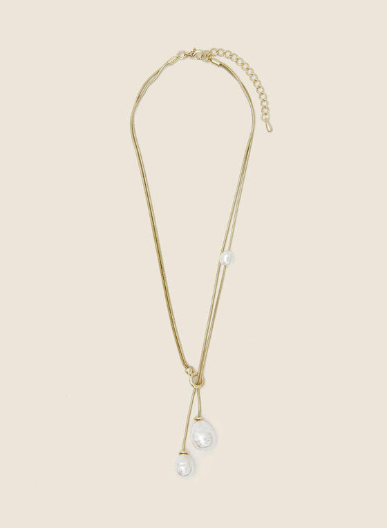 Double Pearl Pendant Necklace, Off White