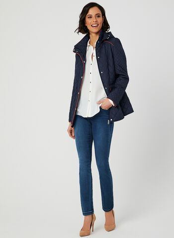 Novelti - Contrast Trim Quilted Coat, Blue, hi-res