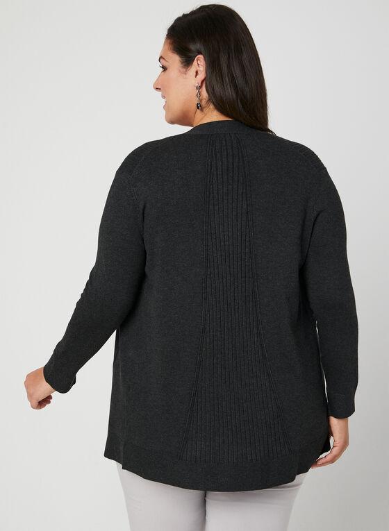 Cardigan ouvert en tricot texturé, Gris