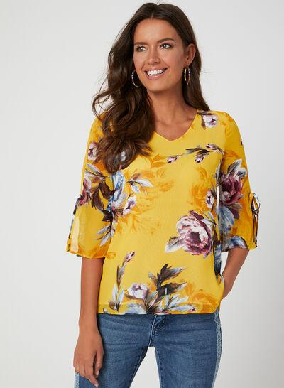Floral Print ¾ Sleeve Top