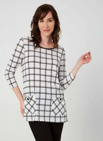 Plaid Print ¾ Sleeve Top, White,  top, tunic, 3/4 sleeves, fall 2019, winter 2019, plaid, blouse, pockets