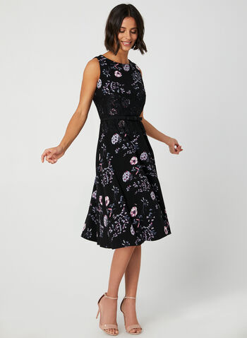 Floral Print Fit & Flare Dress, Black,  crepe, sleeveless, scoop neck, lace, exposed zipper, stretchy, fall 2019, winter 2019