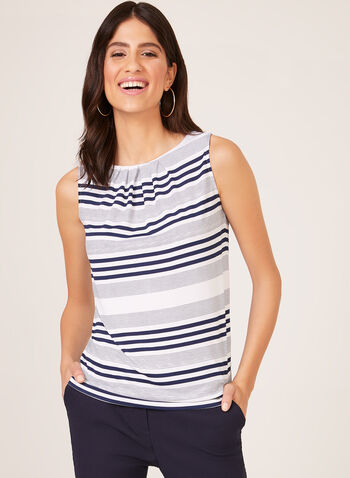 Stripe Print Sleeveless Top, Blue, hi-res